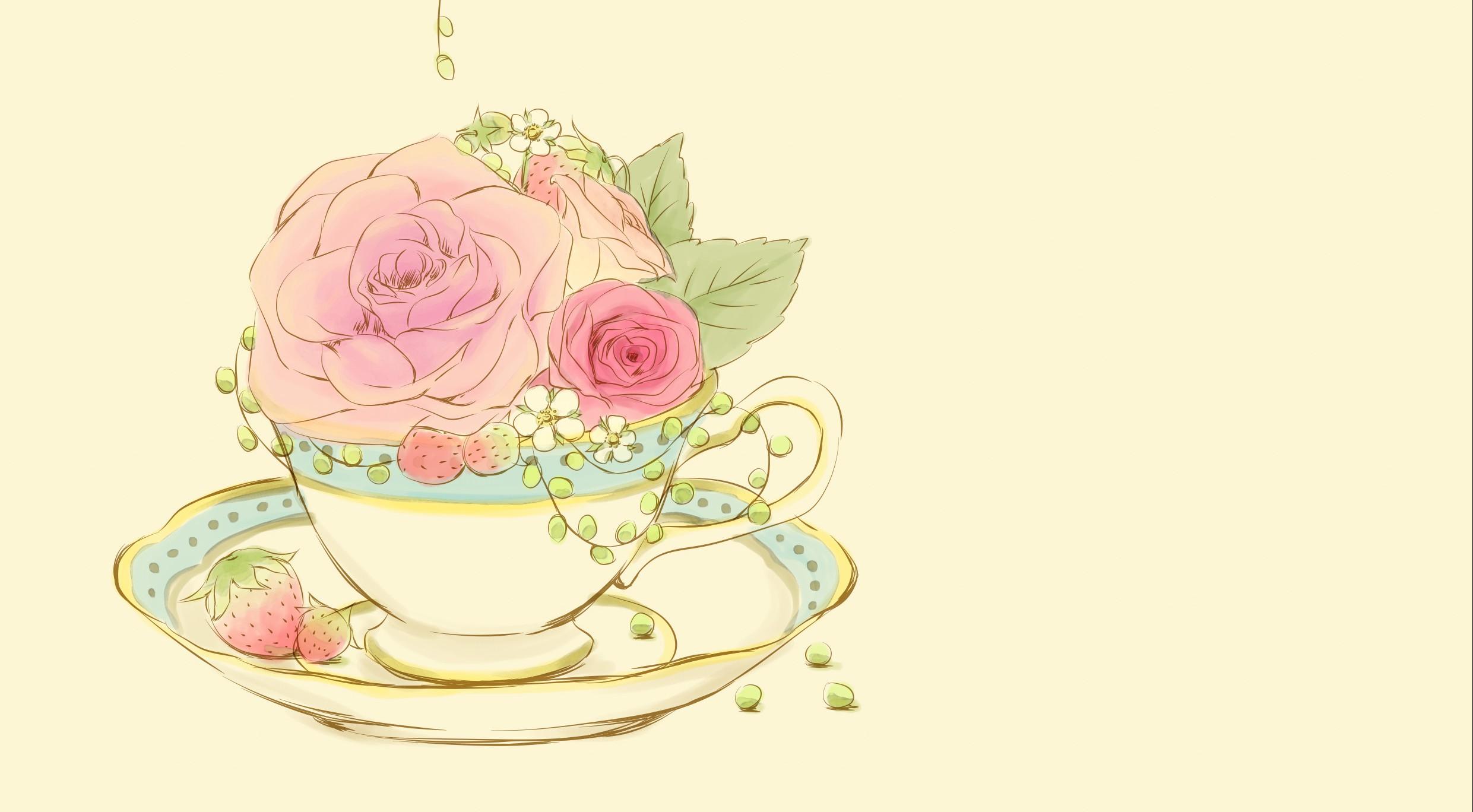 いちごティータイム-hanayuki-   かわいい花イラストのハンドメイド雑貨